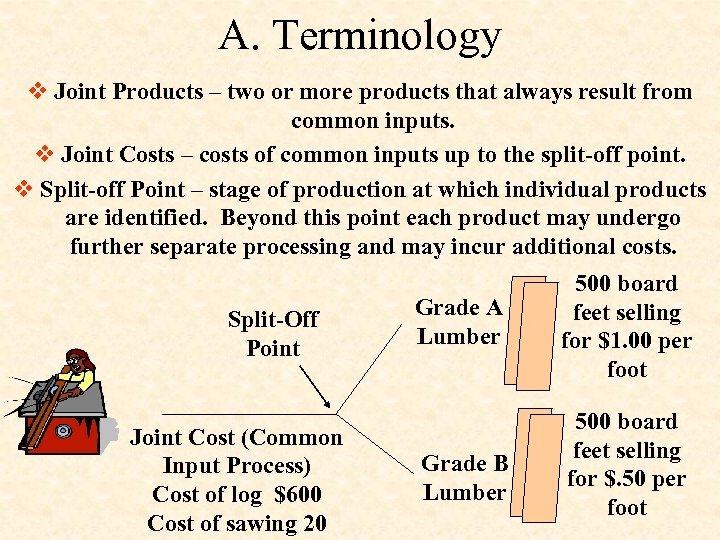 A. Terminology v Joint Products – two or more products that always result from