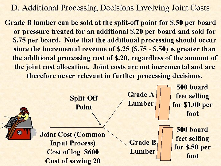 D. Additional Processing Decisions Involving Joint Costs Grade B lumber can be sold at