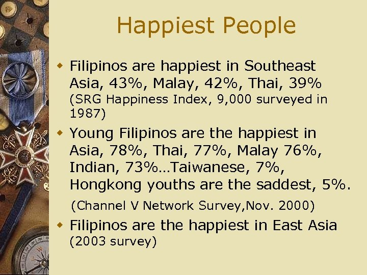 Happiest People w Filipinos are happiest in Southeast Asia, 43%, Malay, 42%, Thai, 39%