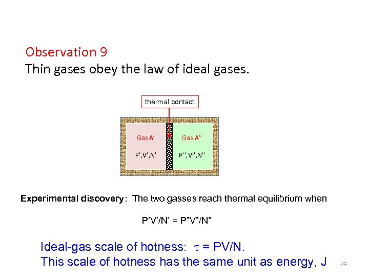 Observation 9 Thin gases obey the law of ideal gases. thermal contact Gas A''