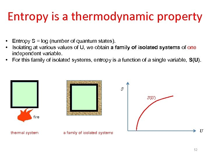 Entropy is a thermodynamic property • Entropy S = log (number of quantum states).