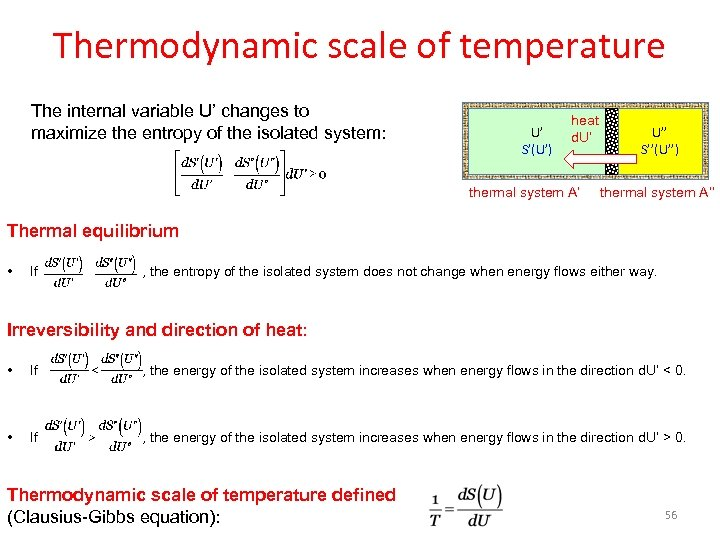 Thermodynamic scale of temperature The internal variable U' changes to maximize the entropy of