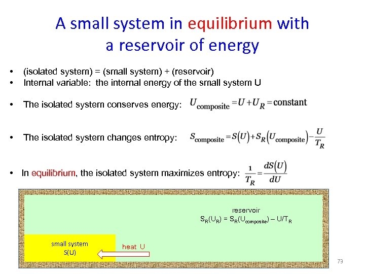 A small system in equilibrium with a reservoir of energy • • (isolated system)