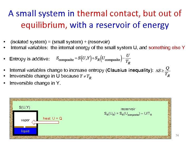 A small system in thermal contact, but of equilibrium, with a reservoir of energy