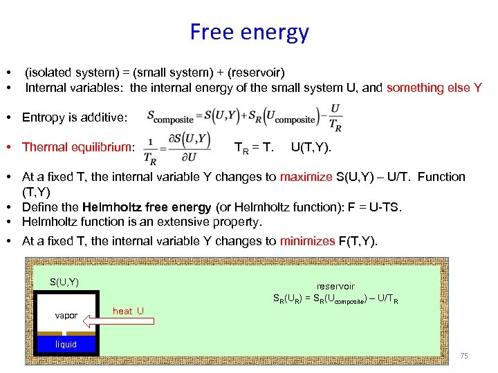 Free energy • • (isolated system) = (small system) + (reservoir) Internal variables: the
