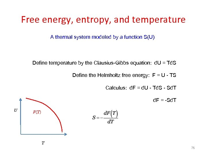 Free energy, entropy, and temperature A thermal system modeled by a function S(U) Define