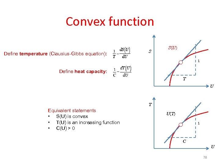 Convex function Define temperature (Clausius-Gibbs equation): S S(U) 1 Define heat capacity: T U