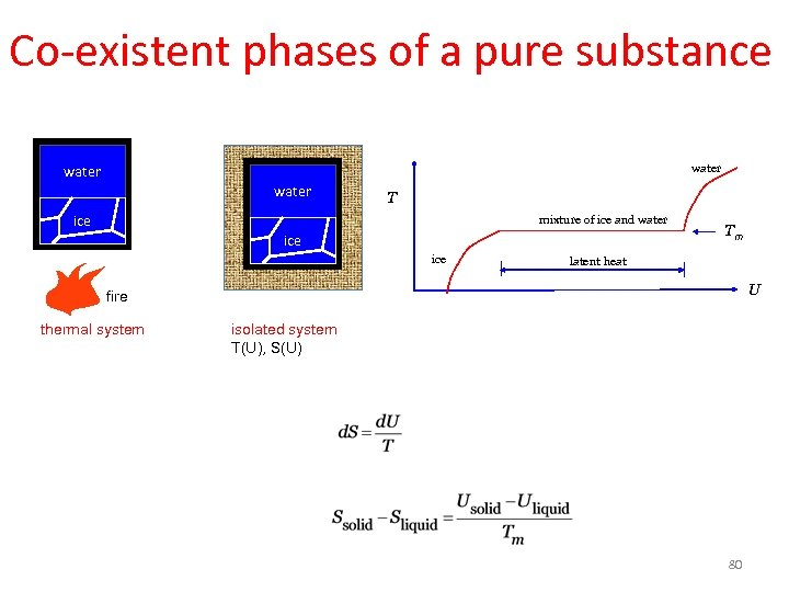 Co-existent phases of a pure substance water T ice mixture of ice and water