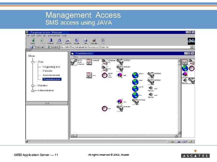 Management Access SMS access using JAVA 8690 Application Server — 11 All rights reserved
