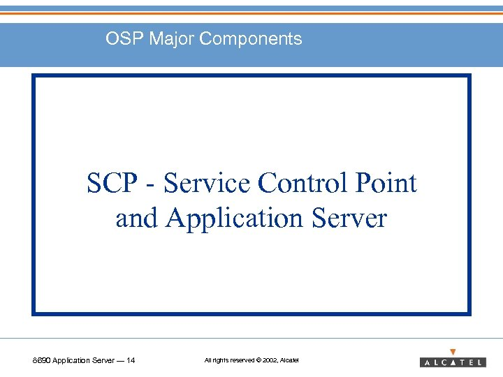 OSP Major Components SCP - Service Control Point and Application Server 8690 Application Server