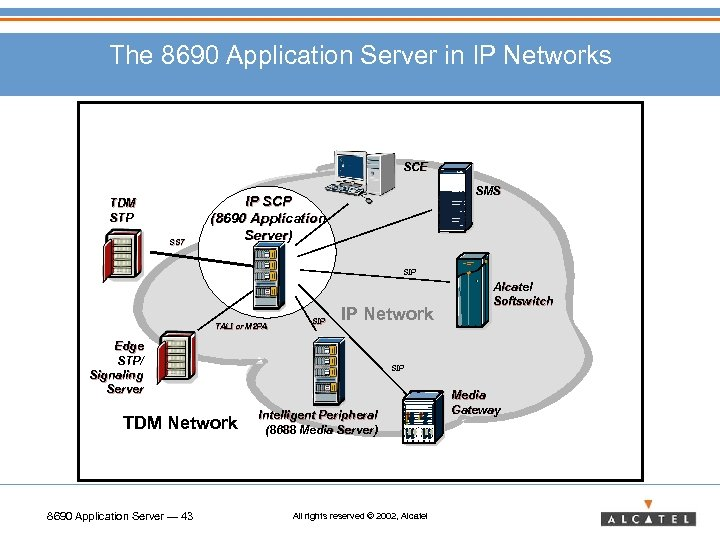 The 8690 Application Server in IP Networks SCE TDM STP SS 7 SMS IP