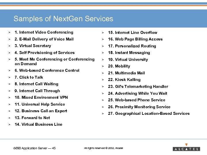 Samples of Next. Gen Services > 1. Internet Video Conferencing > 15. Internet Line