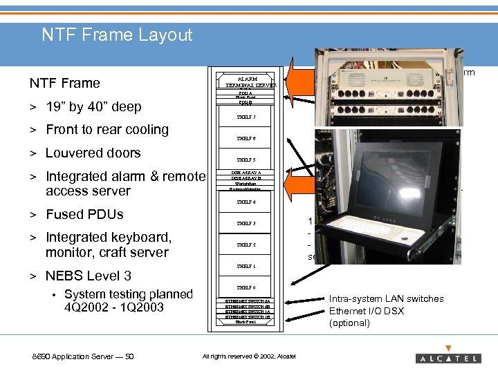 NTF Frame Layout NTF Frame > ALARM TERMINAL SERVER Blank Panel PDU A Blank