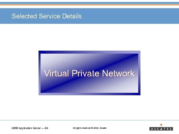 Selected Service Details Virtual Private Network 8690 Application Server — 64 All rights reserved