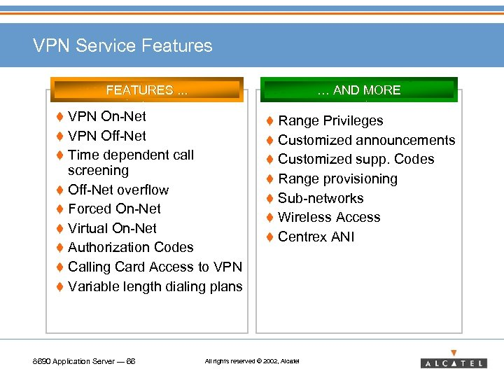 VPN Service Features FEATURES. . . … AND MORE t VPN On-Net t Range