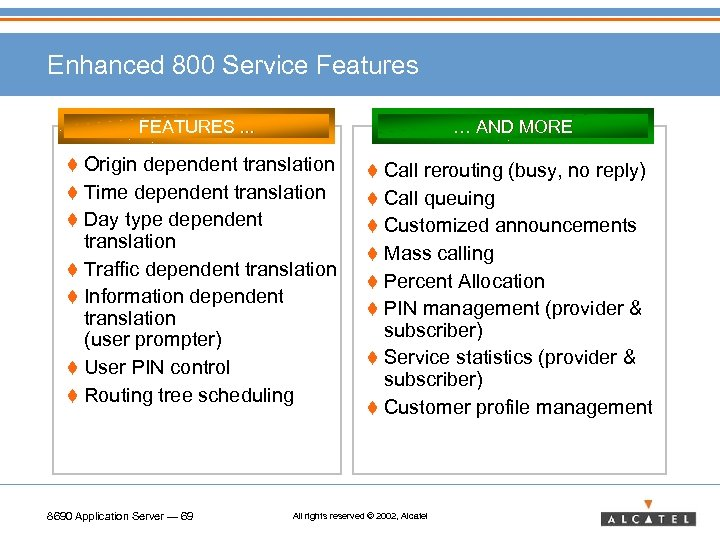 Enhanced 800 Service Features FEATURES. . . … AND MORE t Origin dependent translation
