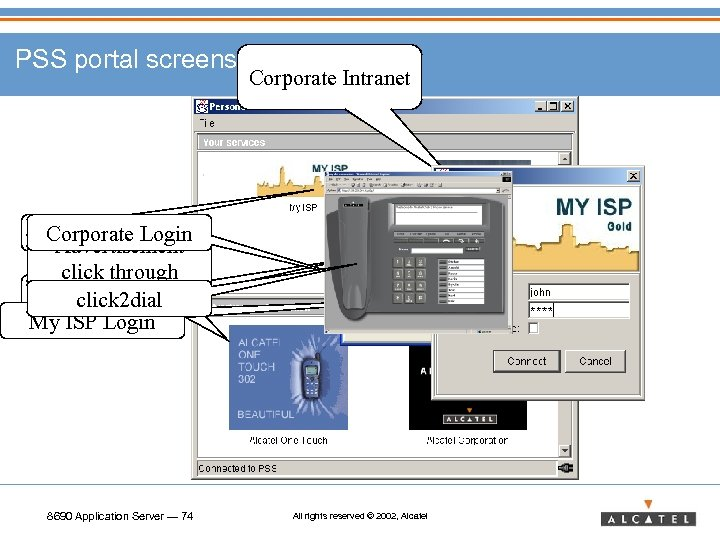 PSS portal screens My ISP Corporate Login Advertisement click through click 2 dial My