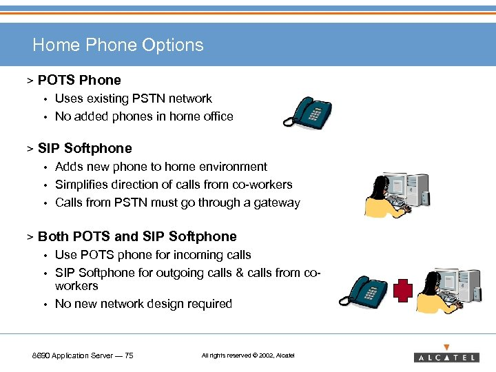 Home Phone Options > POTS Phone Uses existing PSTN network • No added phones