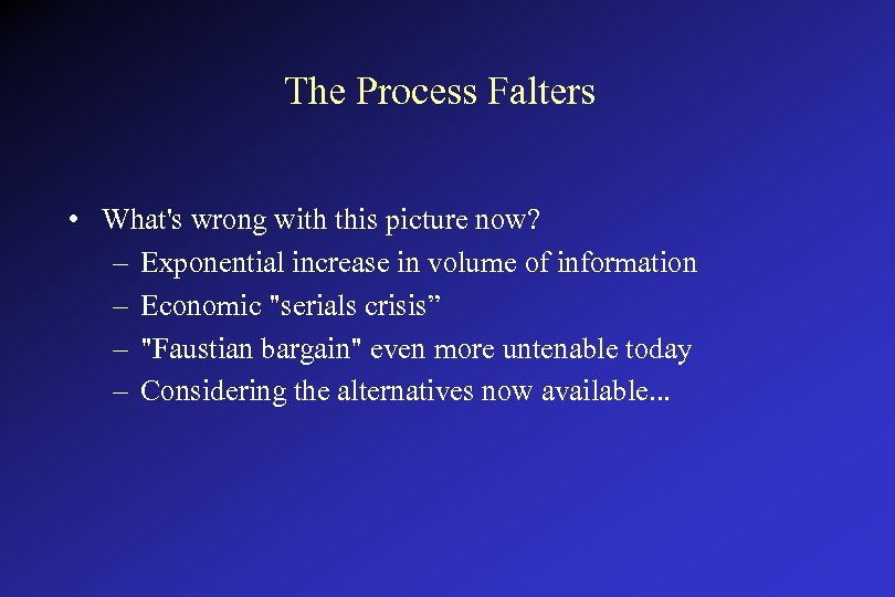 The Process Falters • What's wrong with this picture now? – Exponential increase in