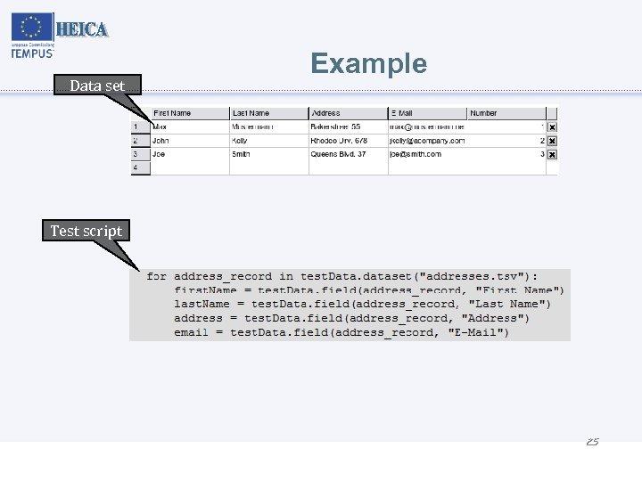 Data set Example Test script 25
