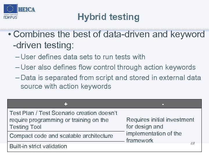Hybrid testing • Combines the best of data-driven and keyword -driven testing: – User