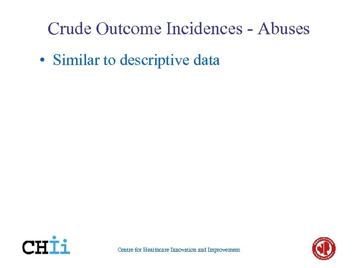 Crude Outcome Incidences - Abuses • Similar to descriptive data Centre for Healthcare Innovation
