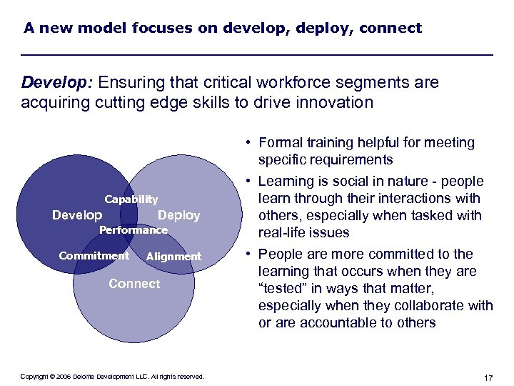 A new model focuses on develop, deploy, connect Develop: Ensuring that critical workforce segments
