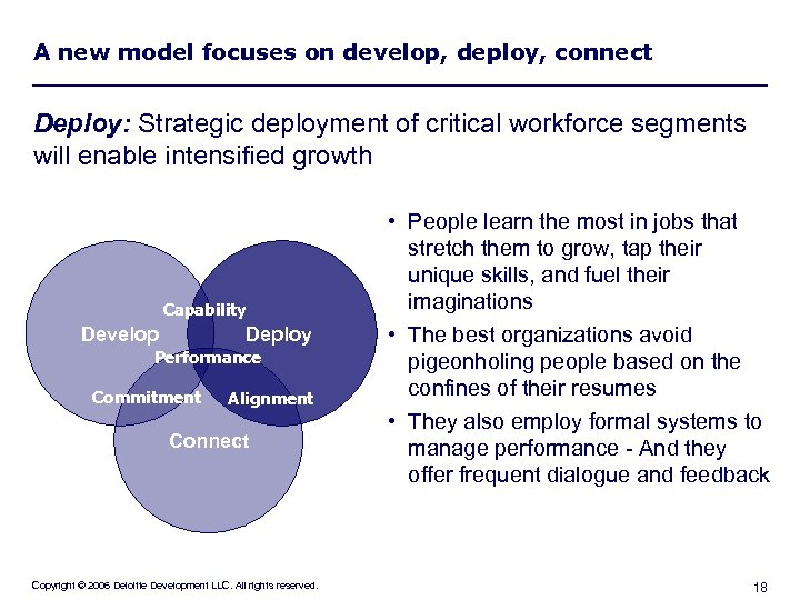 A new model focuses on develop, deploy, connect Deploy: Strategic deployment of critical workforce