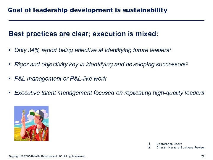 Goal of leadership development is sustainability Best practices are clear; execution is mixed: •