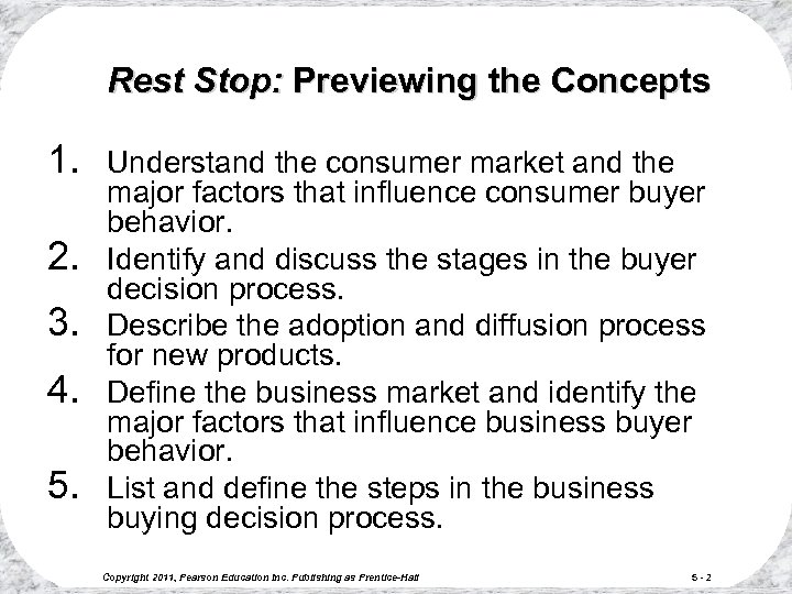 Rest Stop: Previewing the Concepts 1. 2. 3. 4. 5. Understand the consumer market