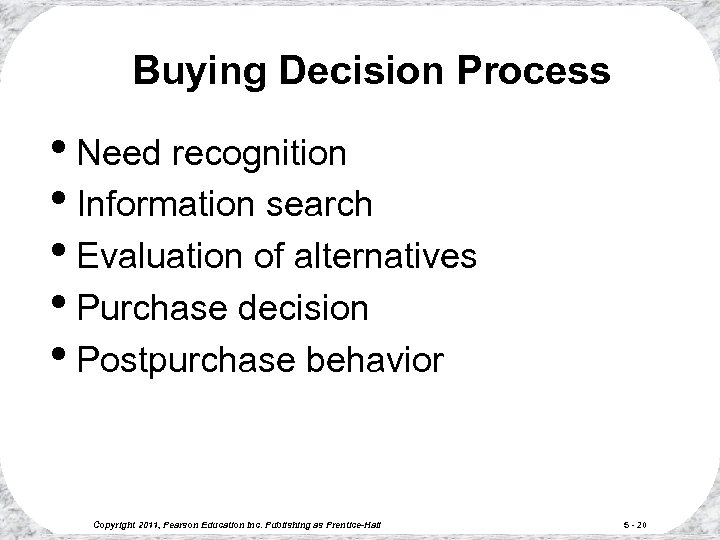 Buying Decision Process • Need recognition • Information search • Evaluation of alternatives •