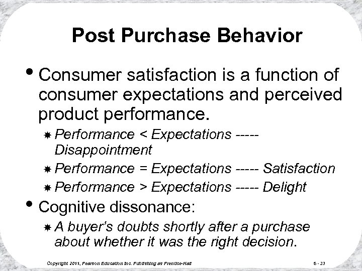 Post Purchase Behavior • Consumer satisfaction is a function of consumer expectations and perceived