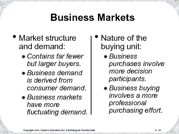 Business Markets • Market structure and demand: • Nature of the Contains far fewer