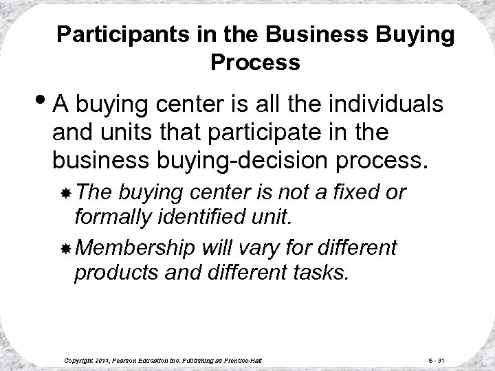Participants in the Business Buying Process • A buying center is all the individuals