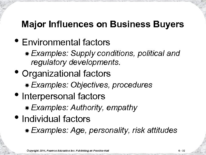 Major Influences on Business Buyers • Environmental factors Examples: Supply conditions, political and regulatory