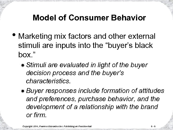 Model of Consumer Behavior • Marketing mix factors and other external stimuli are inputs