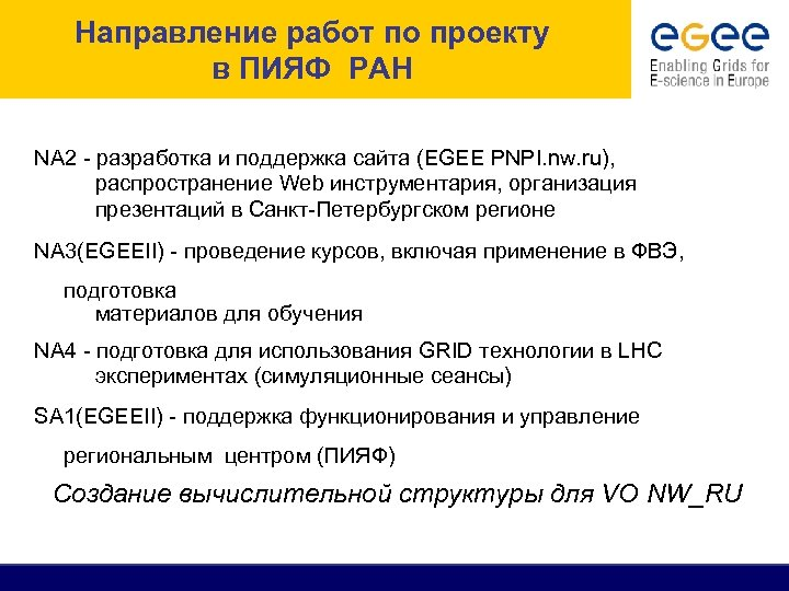 Направление работ по проекту в ПИЯФ РАН NA 2 - разработка и поддержка сайта