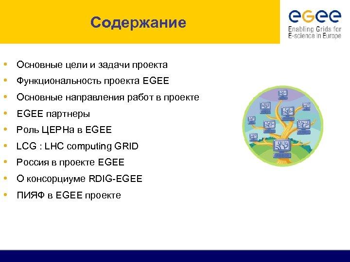 Содержание • • • Основные цели и задачи проекта Функциональность проекта EGEE Основные направления