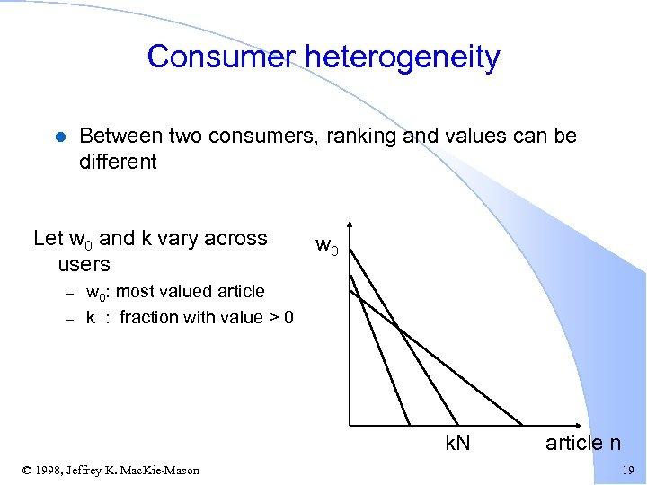 Consumer heterogeneity l Between two consumers, ranking and values can be different Let w