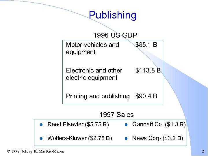 Publishing 1996 US GDP 1997 Sales l Reed Elsevier ($5. 75 B) l Gannett