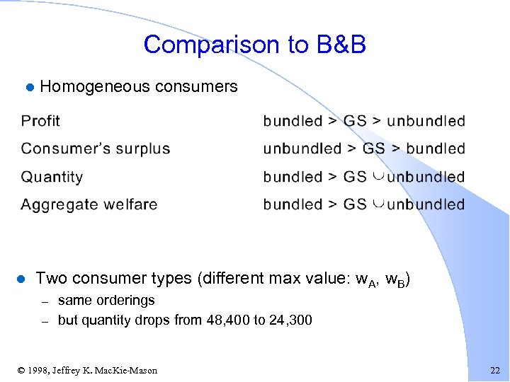Comparison to B&B l l Homogeneous consumers Two consumer types (different max value: w.