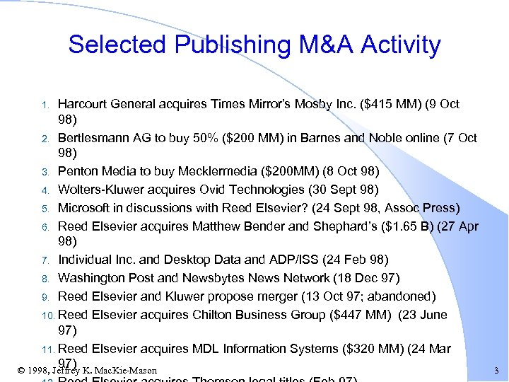 Selected Publishing M&A Activity Harcourt General acquires Times Mirror's Mosby Inc. ($415 MM) (9