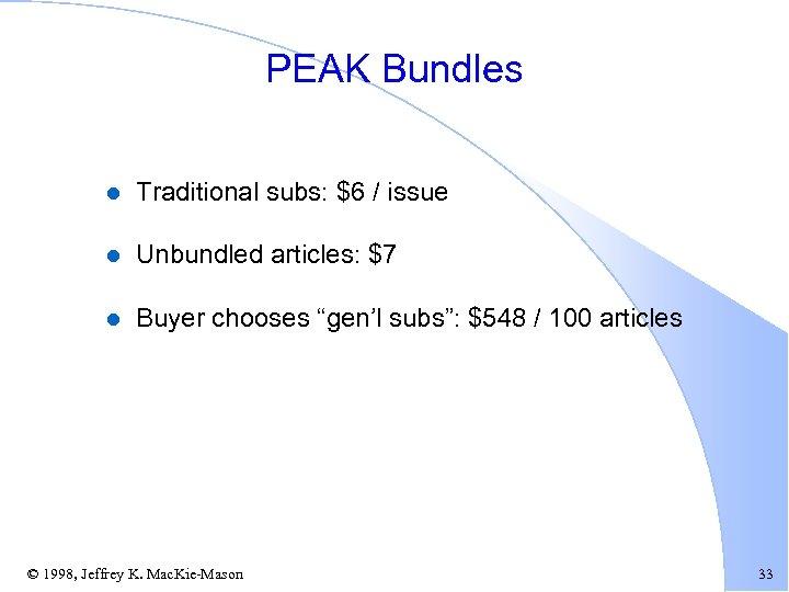 PEAK Bundles l Traditional subs: $6 / issue l Unbundled articles: $7 l Buyer