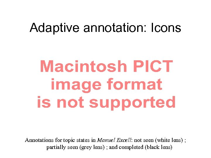 Adaptive annotation: Icons Annotations for topic states in Manuel Excell: not seen (white lens)