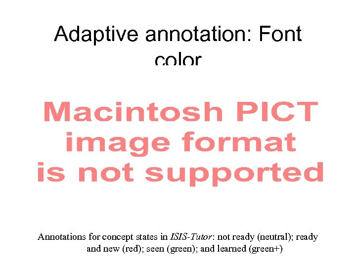 Adaptive annotation: Font color Annotations for concept states in ISIS-Tutor: not ready (neutral); ready