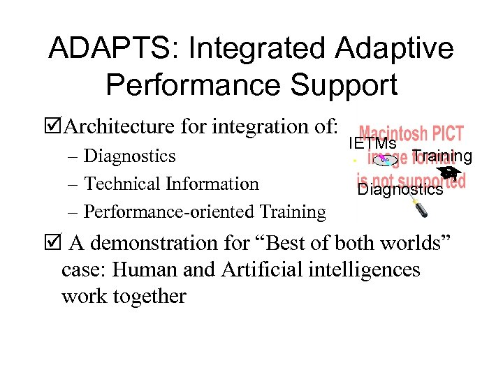 ADAPTS: Integrated Adaptive Performance Support þArchitecture for integration of: – Diagnostics – Technical Information