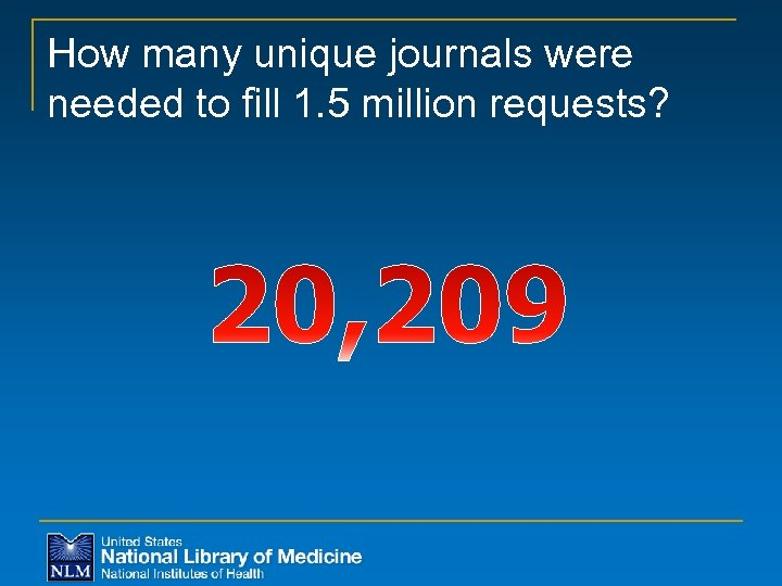 How many unique journals were needed to fill 1. 5 million requests?