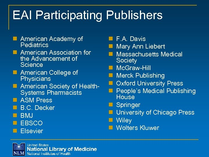 EAI Participating Publishers n American Academy of Pediatrics n American Association for the Advancement