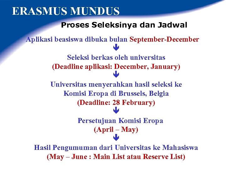 ERASMUS MUNDUS Proses Seleksinya dan Jadwal Aplikasi beasiswa dibuka bulan September-December Seleksi berkas oleh