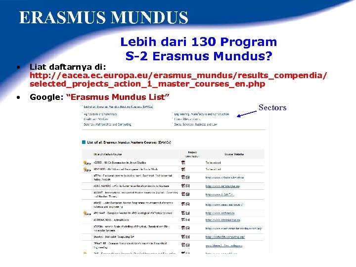 ERASMUS MUNDUS Lebih dari 130 Program S-2 Erasmus Mundus? • Liat daftarnya di: http:
